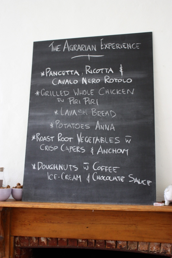 Menu at The Agrarian Kitchen