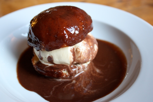 Doughnut sandwiched with ice-cream
