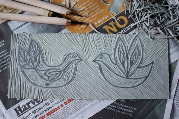 lino print birds
