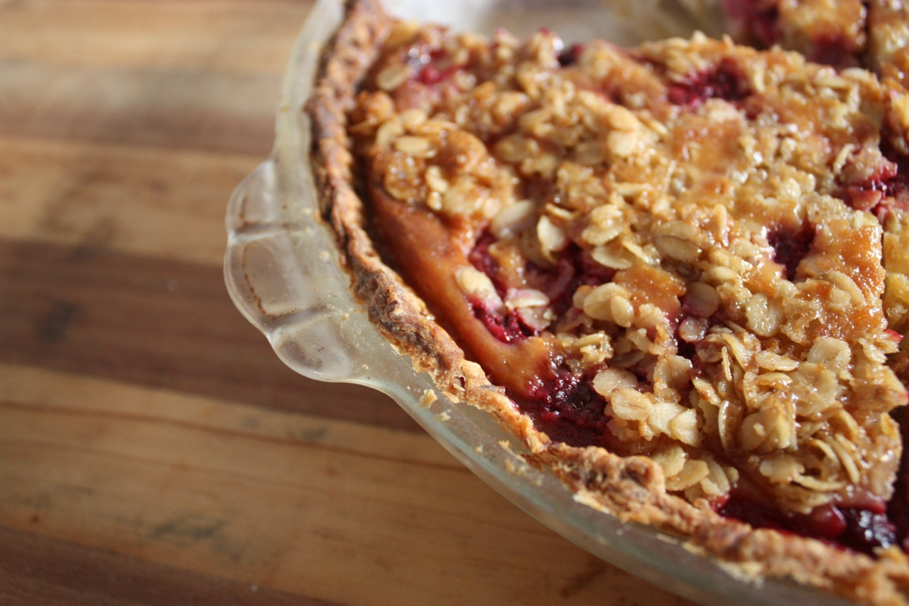 Pear, Raspberry & Custard Crumble Pie. |